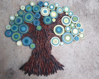 Teal green wall art Paper tree wall hanging Home decor Quilled tree