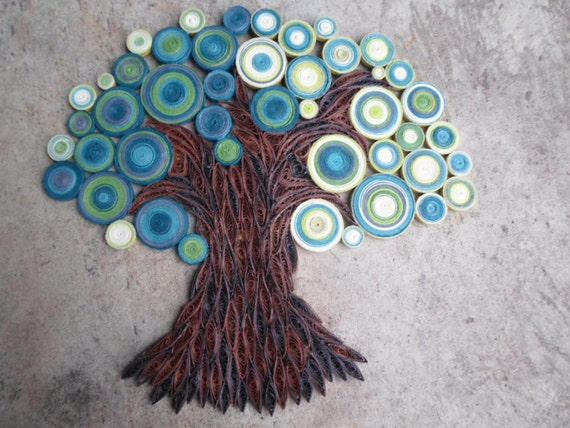 Teal Green Wall Decor : Teal green wall art paper tree hanging home decor quilled