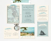 Florida Wedding Invitation and RSVP card Design fee Destination wedding invitation Beach Party wedding invitation Blue wedding