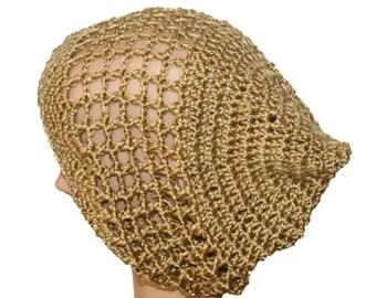 Woman Hat, Lightweight Beanie, Gold Slouch Hat, Womens Tan Rasta, Hipster Hat, Boho Styhle Hat, Tam, Oversize Beanie, Crochet Mesh Hat
