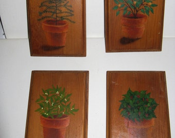 Vintage Handpainted on Wood Potted Plant Pictures - Four