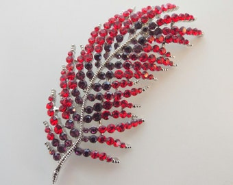 Brooch Red and Purple Rhinestone Feather Silver