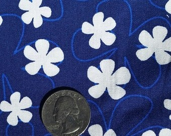 Tossed White Flowers on Blue - Handmade Scrub Hats