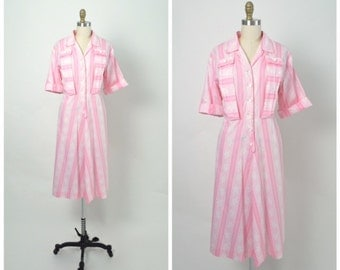 Vintage 1940s 40s 1950s 50s Pink Cotton Day Dress Size Large