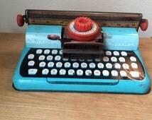 Vintage T. Cohn Metal Toy Typewriter, Turquoise Metal Toy Typewriter, Great Steampunk, Vintage Decor