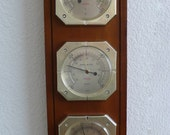 Mid-Century Sunbeam Weather Station 3 Gauge Barometer Solid Wood Light Finish