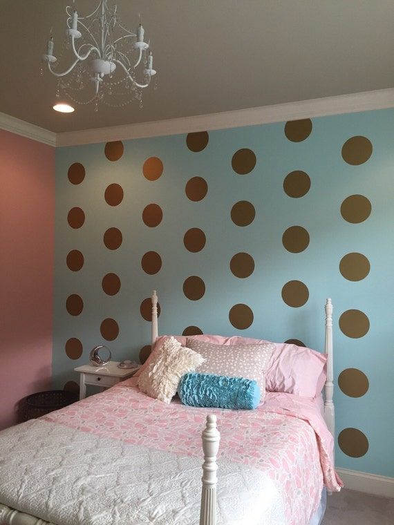 10 Gold Polka Dot Vinyl Wall Decals by LoveToCraft09 on Etsy