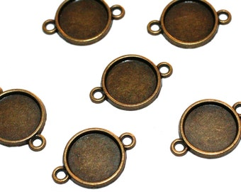 20pc Antique Brass Cabochon Connectors 12mm