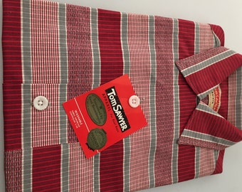 1950s Vintage Boy's TOM SAWYER Shirt New Old Stock SIZE 10 Red Plaid