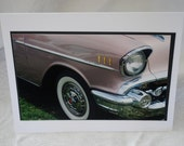 photo card, pink 1957 Chevy photograph