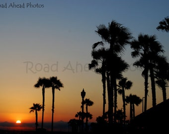 5 x 7 matted photograph.  Sunset in Huntington Beach California