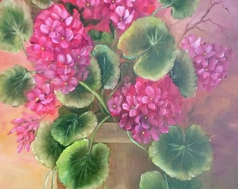 Potted Geranium Oil Painting