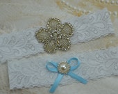 Wedding Garter, Bridal Garter Set ,White Lace Garter Set, Something Blue Garter Set