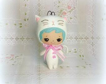 Girl in Kitty Costume Doll