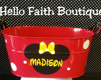 Red Minnie Mouse Party Favor Mini Oval Tubs, Mickey Mouse Party, Minnie Mouse Birthday, Minnie Mouse Party
