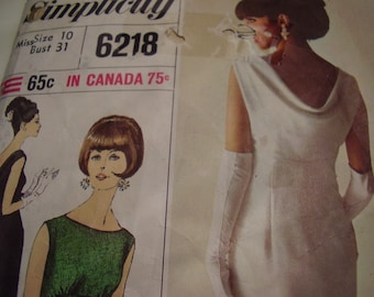 Vintage 1960's Simplicity 6218 Dress Sewing Pattern, Size 10, Bust 31
