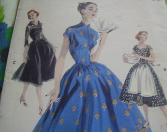 Vintage 1950's Butterick 7617 Bouffant Dress Sewing Pattern, Size 12, Bust 30