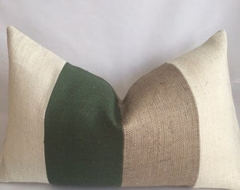 Cream, Hunter Green and Natural Burlap Vertical Stripe Lumbar Pillow Cover