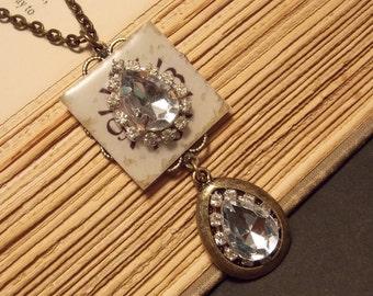 Vintage Inspired Crystal Steampunk Pendant