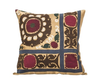 18 x 18 Pillow Cover Suzani Pillow Vintage Suzani Pillow Hand Embroidered Pillow Uzbek Suzani Pillow FAST SHIPMENT with ups or fedex - 07553