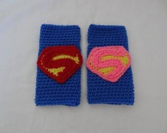 Crochet Superman/Supergirl Fingerless Gloves