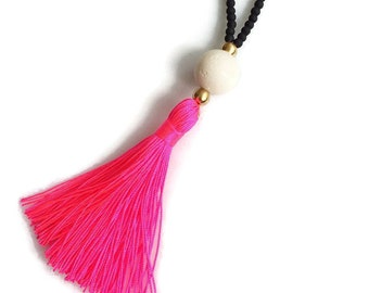 Long Beaded Necklace-black necklace - Neon Pink Tassel Necklace
