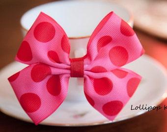 Pink Red Polka Dot  Hair Clip Kids Hair Bow Girls Hair Bow Toddler Hair Bow Baby Hair Bow Birthday Party Hair Bow