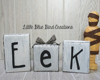 Eek Wood blocks - Eek Wood letters - Halloween decor - Fall decor -shabby chic - rustic halloween - farmhouse