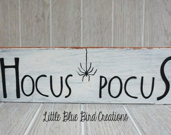 Happy Halloween Hocus Pocus sign - halloween wood sign - witch - fall - wood home decor - spiders - glitter - glitter sign - solid wood sign