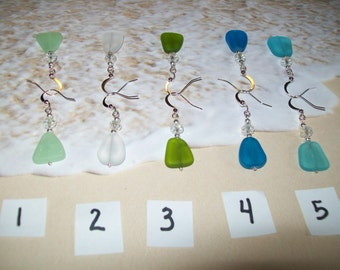 Freeform sea glass earrings, free shipping in US