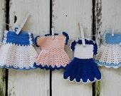 Vintage Crochet Potholder dresses in blue. set of four dresses in blue. Farmhouse kitchen. Country blue kitchen