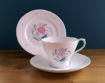 Shelley Tea Cup, Saucer and Side Plate in the Serendipity Pattern