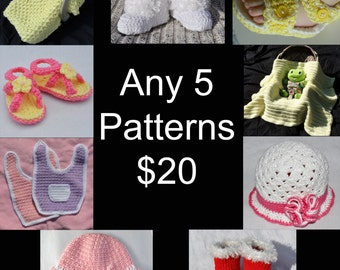 Crochet Pattern - Any 5 Patterns