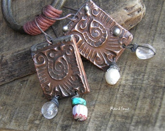 Copper pendant earrings-vintage tribal earrings-symbol Maya-rustic style-tin-copper-turquoise-pearl-turquoise