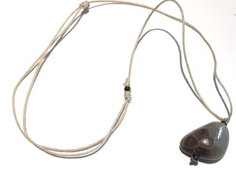 Petoskey Stone Adjustable Pendant (waxed cotton cord)