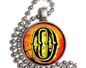 """Letter """"O"""" Art Pendant, Alphabet Resin Pendant, Vintage Initial  Photo, Silver Nickel Coin Charm Necklace"""