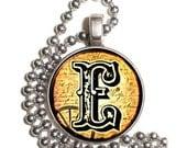 "Letter ""E"" Art Pendant, Alphabet Resin Pendant, Vintage Initial  Photo, Silver Nickel Coin Charm Necklace"