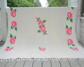 Cross Stitch Pink Roses White Afghan Xlarge