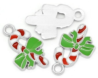 5 pieces - Enamel candy cane with green bow charm pendant - Silver tone - RTS - Ready to ship, Christmas