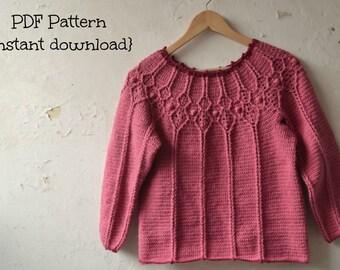 Crochet pullover pattern, crochet sweater pattern, crochet women cardigan pattern, adult 5 sizes, round yoke pullover - pattern no 142