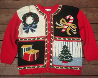Ugly Christmas Sweater Ugly Tacky XMAS Holiday Party Red Cardigan Small