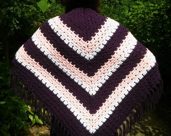Hand Crocheted Shawl/Wrap with Fringe:  Purple, Pink, and White