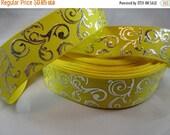swirl ribbon, yellow ribbon, 7/8 inch Ribbon, foil ribbon, grosgrain ribbon, craft supplies, silver, Filler ribbon,  RN14727
