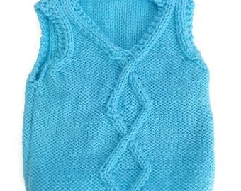 Baby tank top, baby sweater, blue baby tank top, newborn gift, unisex baby top, uk baby accessories, baby shower gift, handknit baby tank