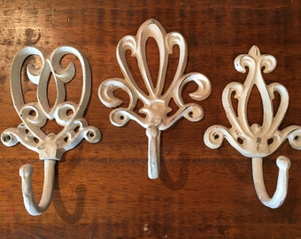 Cream Distressed Iron Filigree Wall Hooks - Set of three (3)