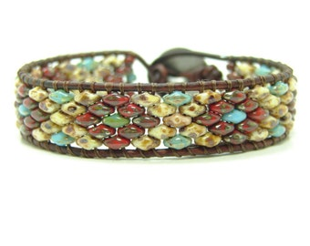 Red Picasso Super Duo Beaded Leather Wrap Bracelet, Single Wrap, Southwestern Style Wrap