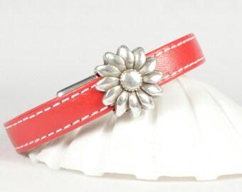 Red goat leather bracelet, Red leather bracelet, Silver flower slider, Magnetic clasp, CarolMade L116