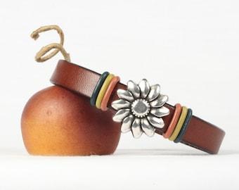 Boho bracelet, Leather bracelet, Flower slider, Magnetic clasp, CarolMade L93