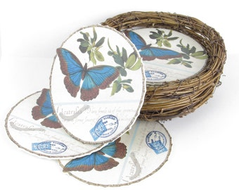 Set of Twelve Butterfly Coasters with Bird's Nest Holder