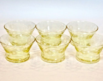 Yellow Etched Glassware Set of 6 Glass Barware, Juice Glasses